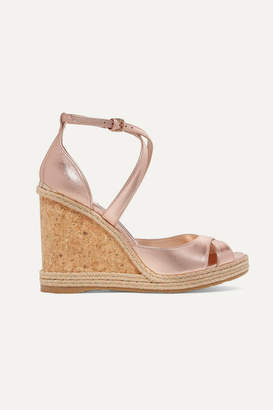 Jimmy Choo Alanah 105 Metallic Leather Espadrille Wedge Sandals - Antique rose