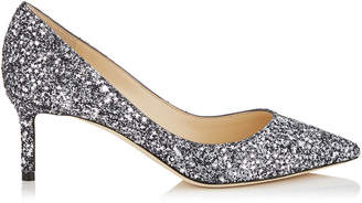 Jimmy Choo ROMY 60 Gunmetal Mix Fabric Pointy Toe Pumps with Star Coarse Glitter