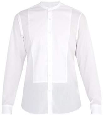 Dunhill Granddad Collar Cotton Shirt - Mens - White