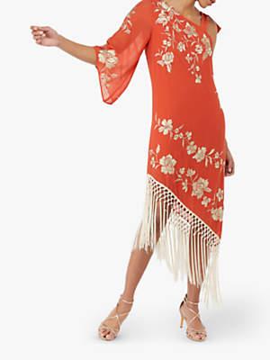 Monsoon Patsy Fringe Dress, Coral