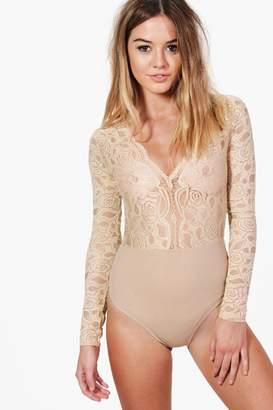 boohoo Petite Plunge V Neck Lace Bodysuit