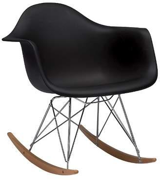 Baxton Studio Dario Plastic Mid-Century Modern Rocking Chair Black