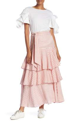 Badgley Mischka 3 Tiered Maxi Skirt
