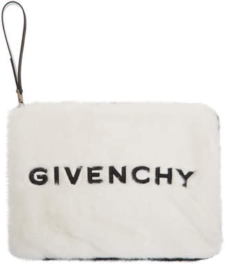 Givenchy Black and White Faux-Fur GV3 Pouch