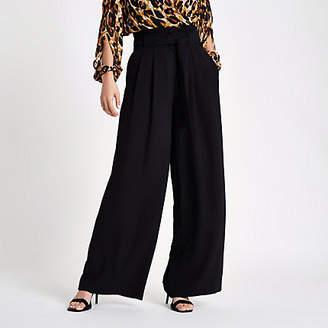 River Island Womens Black tie waist wide leg trousers