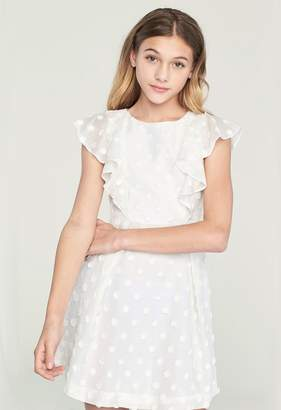 Milly MINIS EMBROIDERED DAISY GAUZE RUFFLE DRESS