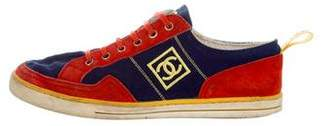Chanel Logo Embroidered Canvas Sneakers