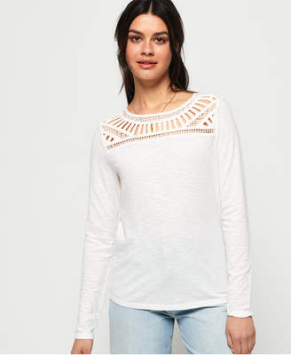 b83ff288f02 Superdry Alana Crochet Lace Long Sleeve Top