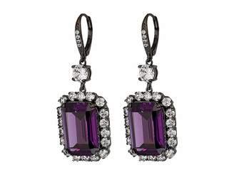 Nina Haloed Emerald Cut CZ Drop Earrings