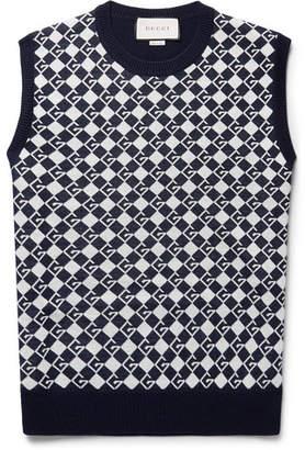 Gucci Logo-Jacquard Wool Sweater Vest