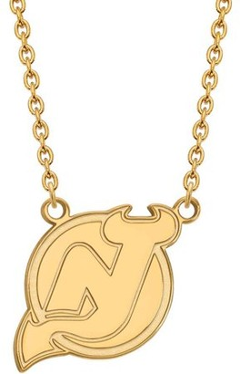 Logoart LogoArt NHL New Jersey Devils 14kt Gold-Plated Sterling Silver Large Pendant with Necklace