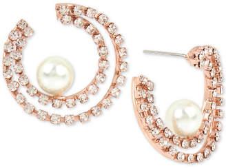 BCBGeneration Bcbg Hematite-Tone Crystal & Imitation Pearl Double-Row Hoop Earrings