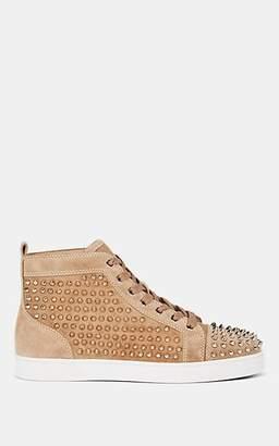 Christian Louboutin Men's Louis Flat Spiked Suede Sneakers - Beige, Tan