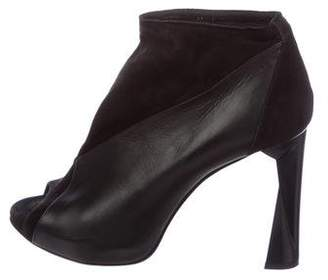Pierre Hardy Leather Peep-Toe Booties
