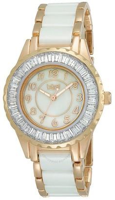 Burgi Rose gold-tone Ceramic Bracelet Baguette Quartz Ladies Watch