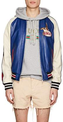 Gucci Men's Bird-Embroidered Leather Baseball Jacket