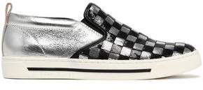 Marc Jacobs Sequin-Embellished Smooth And Metallic Cracked-Leather Slip-On Sneakers