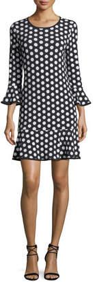 MICHAEL Michael Kors Simple Dot Flounce Shift Dress