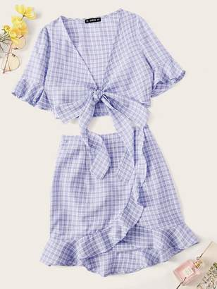 Shein Knotted Front Gingham Top & Ruffle Hem Wrap Skirt Set
