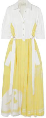 Cédric Charlier Cotton-blend And Satin-twill Midi Dress - Yellow