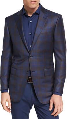 Ermenegildo Zegna Plaid Wool Two-Button Sport Coat, Navy/Camel