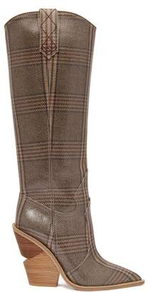 Fendi - Coated Prince Of Wales Check Knee High Boots - Womens - Grey