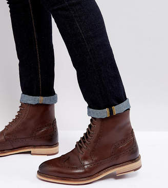 Asos DESIGN lace up brogue boots in brown leather with cleated sole