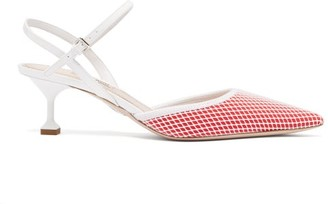 3c7d84b2fb1 Miu Miu Mesh Patent Leather Slingback Kitten Heels - Womens - Red White