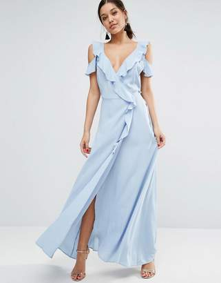 ASOS Delicate Ruffle Wrap Front Cami Maxi Dress $67 thestylecure.com