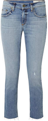 Rag & Bone Dre Distressed Slim Boyfriend Jeans - Mid denim