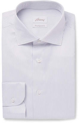 Brioni Light-Grey Slim-Fit Cutaway-Collar Striped Cotton-Poplin Shirt