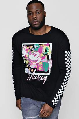 boohoo Big And Tall Disney Long Sleeve Checkerboard Tee
