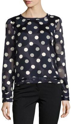 Pink Tartan Polka-Dot Long-Sleeve Crepe Blouse, Blue/White $189 thestylecure.com
