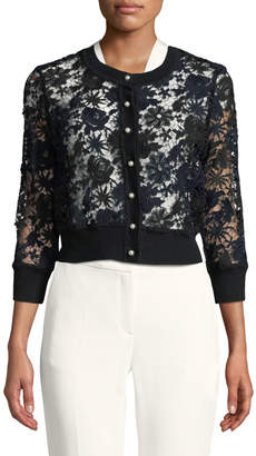 Karl Lagerfeld Paris Pearlescent-Button Cropped Lace Cardigan