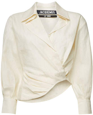 Jacquemus La Chemise Sabah Blouse with Cotton and Linen