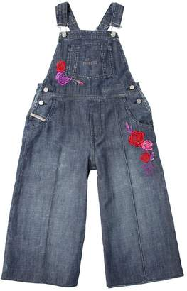 Diesel Floral Embroidered Light Denim Overalls