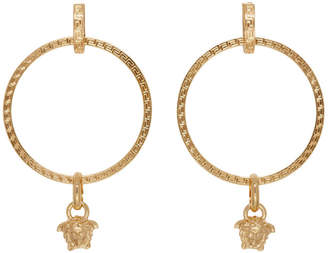 Versace Gold Medusa Hoop Drop Earrings