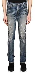 Saint Laurent Men's Paint-Splatter Slim Jeans - Lt. Blue