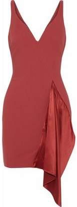 Cinq à Sept Draped Silk Satin-Paneled Ponte Mini Dress