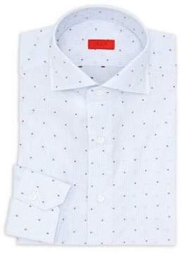 Isaia Checkered Cotton Dress Shirt