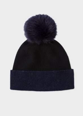 Paul Smith Women's Navy And Black Pom-Pom Wool Hat