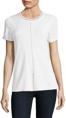 Elie Tahari Women's Embellished Short-Sleeve Merino Top