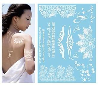 Yiwa Disposable Fashion Sexy White Lace Temporary Tattoo Sticker Waterproof Non-toxic Body Sticker