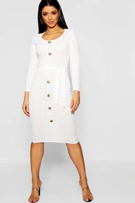 boohoo Belted Long Sleeve Button Up Rib Knit Dress