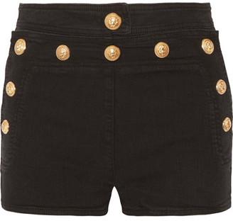 Balmain - Button-detailed Stretch-denim Shorts - Black $1,020 thestylecure.com