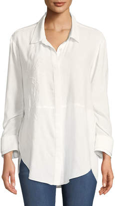 Halston Ruched-Sleeve Embroidered Shirt