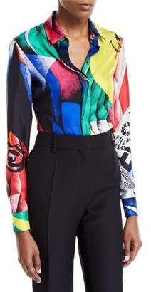 Versace Clash-Print Button-Front Long-Sleeve Silk Blouse