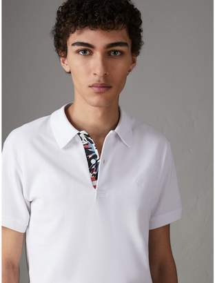 Burberry Print Trim Cotton Piqué Polo Shirt