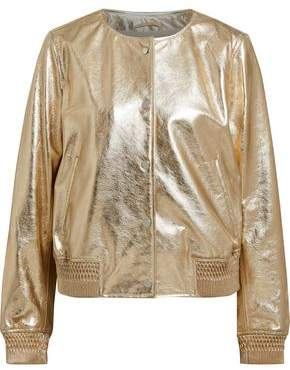 Yves Salomon Meteo By Metallic Leather Bomber Jacket
