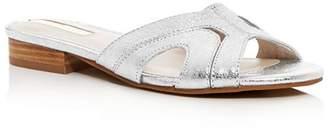 Kenneth Cole Women's Viveca Crackled Leather Low Heel Slide Sandals